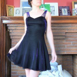 Glittery 80's Dark Purple Strappy Dress XS/S